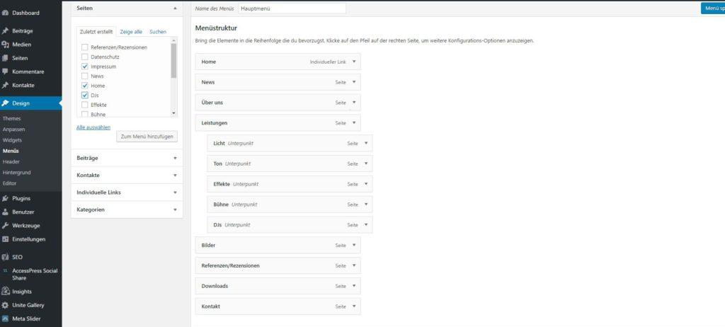 Die Struktur eines Menüs in WordPress