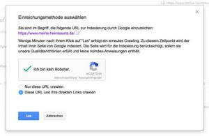 Listung der Website und deren Unterseiten im Google Index. Die kann ebenso über Search Console geschehen.