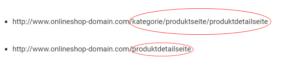 Beispiel interner Duplicate Content