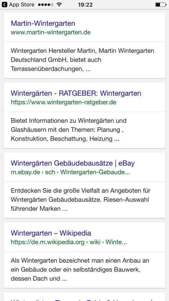 Beispiel für ein transaktionelles Keyword - Wintergarten